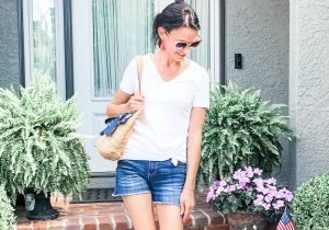 Model Wearing White T-shirt with denim shorts