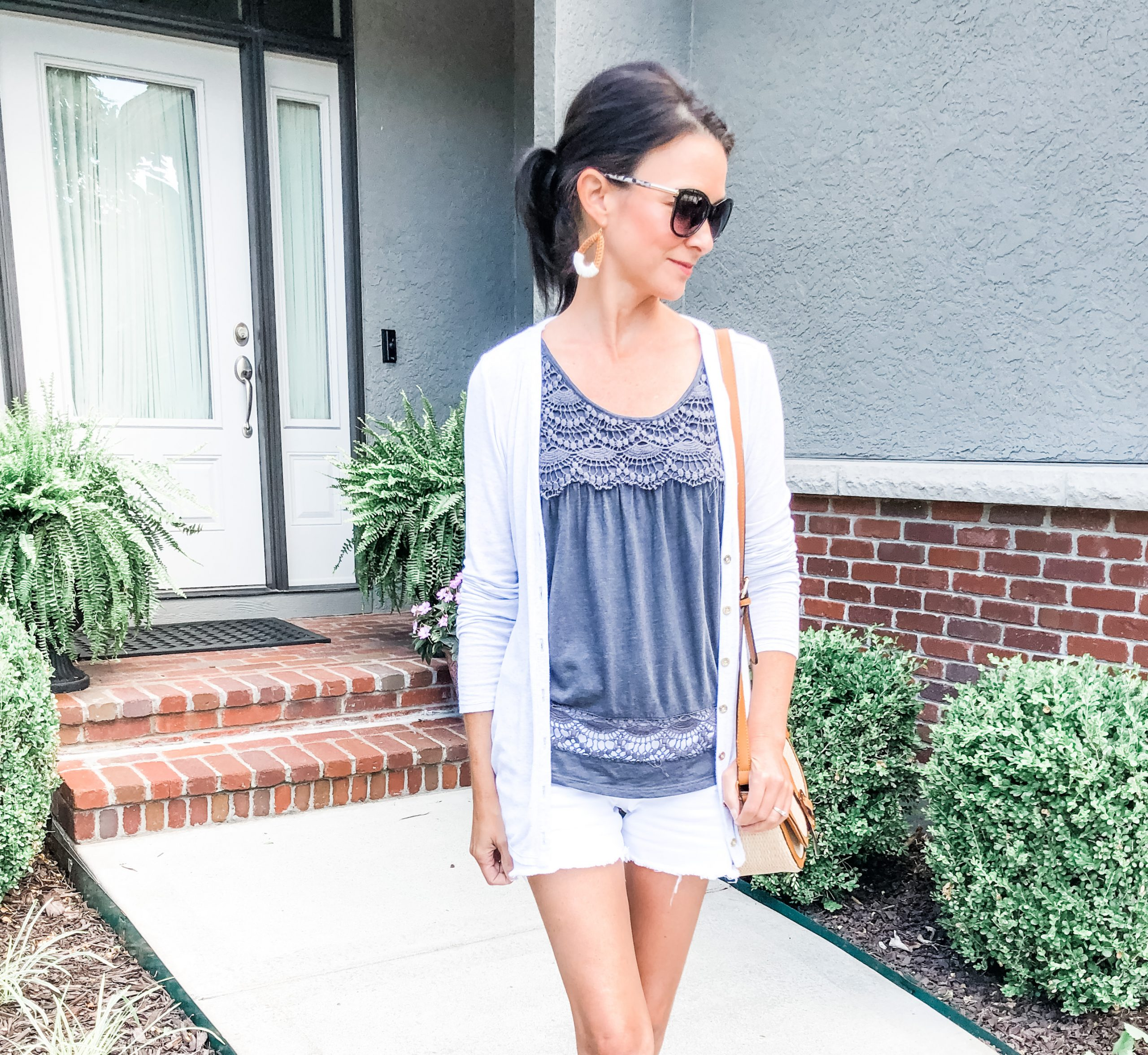 Three Classic Outfits with White Denim Shorts
